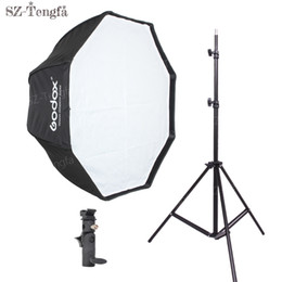 Wholesale Umbrella Bracket - Freeshipping 80cm octagon umbrella softbox Light stand umbrella Hot shoe bracket kit for Flash Speedlite