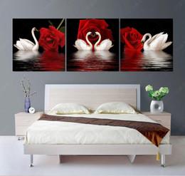 2019 pinturas a óleo de cisnes Sem moldura 3 Painel de pintura na parede Modular Fotos Modernas Pinturas A Óleo Da Lona Retratos Da Parede Para Sala de estar Swan Rose HD Impressão pinturas a óleo de cisnes barato