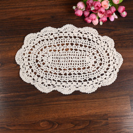 Wholesale Vintage Hand Crocheted Doilies - Wholesale- LINKWELL 20x35cm Vintage Lace Beige Oval shaped placemats love hand crocheted cotton doilies cotton pads doily coaster ornament