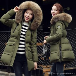 Wholesale Denim Detachable Collar - fashion army green women Down Parkas winter warm outerwear clothes women long design big size fur collar coat Hooded Duck Down jacket FS0747