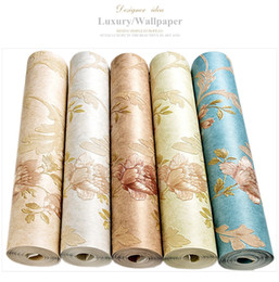 Wholesale damask backgrounds - Luxury Classic Wall Paper Home Decor Background Wall Damask Wallpapers Top Quality Floral Wallcovering 3D HD Wallpaper Bedroom
