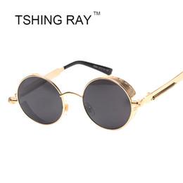 Wholesale Punk Gothic Coat - Wholesale-Classic Vintage Men Gothic Steampunk Round Circle Sunglasses Retro Women Punk Coating Mirror Sun glasses UV400