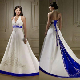 Wholesale Halter Neck Vintage Wedding Dress - Vintage Court Train White and Royal Blue A Line Wedding Dresses Halter Neck Open Back Lace Up Custom Made Embroidery Bridal Gowns 2017