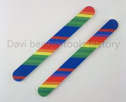Wholesale Sandpaper Pattern - Wholesale- 50pcs lot Rainbow pattern sandpaper nail file home-use nail tools emery board