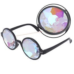 Wholesale Kaleidoscope Wholesale - Wholesale- Creative Round Kaleidoscope Sunglasses Women Dazzle Eyewear Model Show Sun Glasses Men Artificial diamond Lens Steam Punk style
