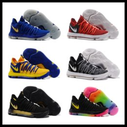 Wholesale Hot Bow - KD 10 kids Basketball shoes hot sales Kevin Durant FMVP sneakers Childrens shoes free shipping size 36-40
