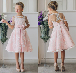 Wholesale Girls Easter Dress 12 - Fancy Pink Flower Girl Dress with Appliques Half Sleeves Knee Length A-Line Gown with Ribbon Bows For Christmas 0-12 Years Old
