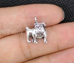 Wholesale Bones Number - 100pcs-Dog Charms Antique Silver Bronze Cute Bulldog Dog Paw Bone Charm Pendant 17x13mm Connector Lovely DIY Jewelry Making