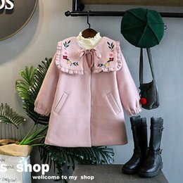 Wholesale Girls Wool Winter Coats - Children Clothes Fashion Autumn Winter Pink Girls overcoat embroidery floral Children Coat Kids Outwear Girls Clothes baby Wool Coat A1354