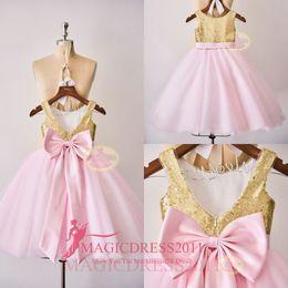 Wholesale Wedding Girls Short Skirt - Romantic Gold Sequins Flower Wedding Girl Dresses with Pink Skirt 2016 Jewel Ruffled Short Mini Bow Little Kids First Communion Party Gowns