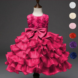 Wholesale Baby Girl Tutu Puffy Dresses - Baby Children Christening Gowns Newborn Birthday Clothes Puffy Kids Lace Bow Infant Princess Flower Girl Dress
