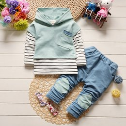 Wholesale Baby Girl New Arrivals - hooded set baby boys clothing set children hoodies pants striped winter warm clothes boys girls sets 2017 autumn new arrival