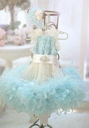 Wholesale Toddler Girl Feather Dresses - 2017 aqua blue baby first birthday feather dress for girls ivory lace little flower girl dress beading toddler glitz pageant dresses