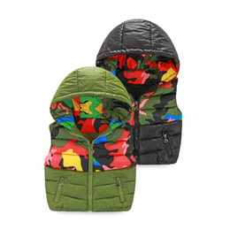 Wholesale Camouflage Jacket Hood - Boys autumn and winter vest new Slim hooded cotton vest fashion Camouflage print Kidss models down jacket waistcoat vest