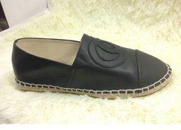 Wholesale Espadrilles Flats - NIB classic Luxury Brand Fashion Ladies Casual Espadrilles Loafers Flats shoes women Genuine Leather Leisure Platform Espadrille