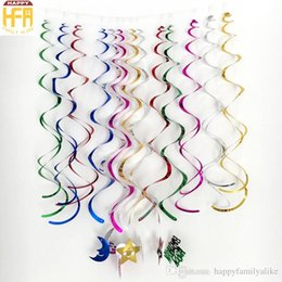 Wholesale Mixed Party Bags - 90Cm Party Decoration Colorful Wall Hanging Designs Helical Hangings PVC Christmas Decorators Mixed Color 6Pcs Bag