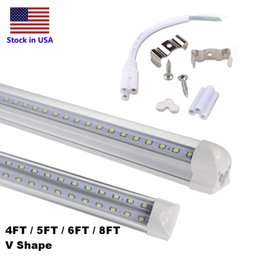 Wholesale 4ft led tubes - 4ft 5ft 6ft 8ft LED Tube Light V Shape Integrated LED Tubes 4 5 6 8 ft Cooler Door Freezer LED Lighting