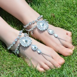 Wholesale Silver Gem Sandals - Boho Beach Golden Color Crystal Gem Multilayer Tassel Anklet Chain Barefoot Sandal Fashion Foot Jewelry for Women