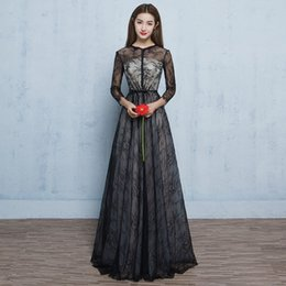 Wholesale Tailor Made Evening Gowns - Full Sleeve Black Long Evening Prom Dress 2017 Elegant Buttons Slim Sexy See Though Lace Formal Party Ball Gown Tailor Made 8colors