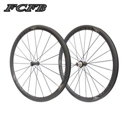 Wholesale Carbon Road Bike Wheels 25mm - 2017 new FCFB road carbon wheelset F-38mm carbon clincher with R36 for Road Bike bicycle wheels 25mm width 3K matt wheelset