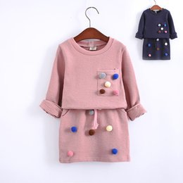 Wholesale Kids Long Pencil Skirts - Wholesale- girls winter clothing set long sleeve shirt with ball with pencil skirt pink and blue color fashion clothes set kids children