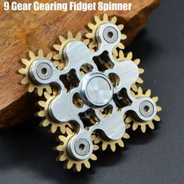 Wholesale Cnc Wheels - Authentic 9 Gear Gearing Fidget Spinner Steampunk machine wheels Brass hand Spinners CNC EDC Finger Tip Stainless novelty Rollver Toys