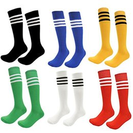 Wholesale Boys Baseball Socks - 6 pcs Children Football Socks Boys Soccer Sock Kid Above Knee Plain Socks Long Soccer Stockings Men Over Knee High Sock Baseball