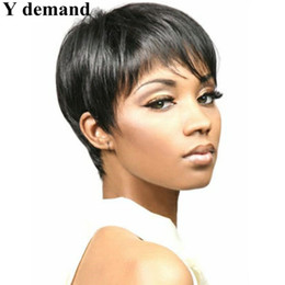 Wholesale Short Wigs Wholesale - Cool Rihanna Short Pixie wig Cut Black New Stylish Synthetic Wigs Straight hair Highlights wig for Women Glamorous Fashion