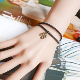 Wholesale Multi Bracelet Clover - The new Korean version of the four clover pendant bracelet factory direct simple multi - storey jewelry