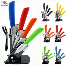 "Wholesale High Quality Kitchen Knife Sets - D047 High quality brand Paring Fruit Utility 3"" 4"" 5"" 6"" inch + peeler + Acrylic Holder Block Chef Kitchen Ceramic Knife Sets"