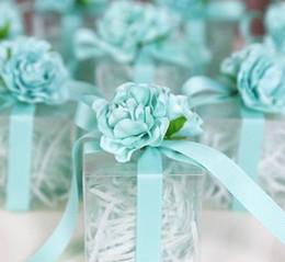 Favores de la boda Cajas de dulces Rosas románticas Flores de seda Favores Cajas de regalo Cubo de seda transparente de plástico desde fabricantes