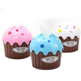 Wholesale Ice Cream Paper Cups Wholesale - Wholesale- 3pcs Tissue Boxes Creative Cute Ice Cream Cake Towel Tube With Bath Toilet Paper Tissue Box Car Kit Toothbrush Cup High Quality