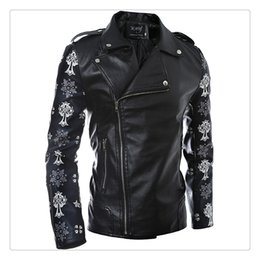 Wholesale Leather Jackets For Winter - Leather Jackets for Men Autumn&winter Fashion Lapel Oblique Zipper Mens Casual Motorcycle Leather Jacket Coats US Size:XS-L