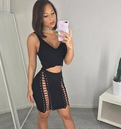 Wholesale Deep Hole - 2017 new summer women two piece slim package hip skirt fashion sexy double tether hole deep V nightclub skirt
