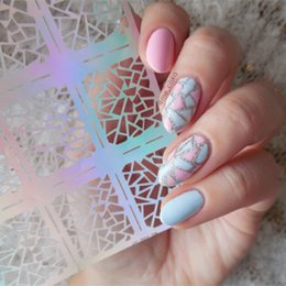 Wholesale Triangle Nail Stickers - 12 Tips Sheet Irregular Triangle Pattern Nail Vinyls Nail Art Manicure Stencil Stickers JV206 # 23528