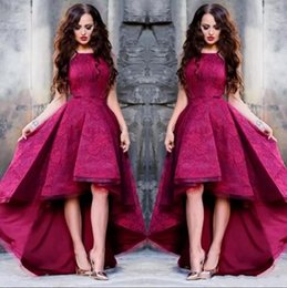 54ea94eab49f4 Hot Pink High Low Short Prom Dresses Jewel Neck Full Lace A Line Satin  Formal Evening Gowns Party Cocktail Dresses