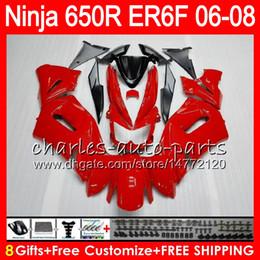 Wholesale Kawasaki Er6 - 8Gifts 23Colors Body For KAWASAKI NINJA 650R ER6F 06 07 08 Ninja650R 20NO45 glossy red ER 6F 06-08 ER6 F ER-6F 2006 2007 2008 Fairing Kit
