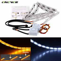 Wholesale Led Headlight Strip - 8w 2Pcs Car Flexible Switchback LED Knight Rider Strip Light for Headlight Sequential Flasher DRL Flowing Amber Turn Signal Lights