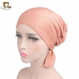 Wholesale Head Cap For Winter - 2017 new fashion Women's Ruffle Chemo Hat Beanie head Scarf Turban Headwear for Cancer Patients hair accessories