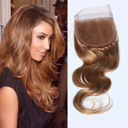 Wholesale Honey Sales - Hot sale pure honey blonde lace closure with baby hair 130% density Brazilian honey blonde lace closure human hair Closure