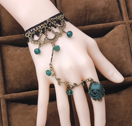 Wholesale Charms Lobster Ring - Vintage Flower Vine Crystal Lace Bracelets Lolita jewelry with Rose Rings women stylish New multicolor Xmas gift 20pcs lot