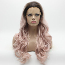 Wholesale Cheap Long Half Wigs - Iwona Hair Cheap Wavy Long Dark Root Pink Ombre Wig 12#C103 Half Hand Tied Heat Resistant Synthetic Lace Front Wig