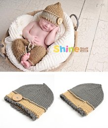 Wholesale Newborn Crochet Hats Sets - Baby Photography Props Gray Set Newborn Boy and Girl kids clothes Crochet Shorts with Hat Coming Home Photo Props Doll Accessories