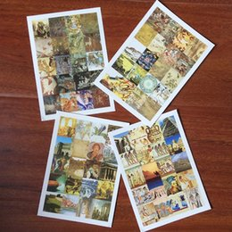 Wholesale Pyramid Stickers - Wholesale- 80pcs stamp shape Europe view photo sticker include pyramid Queen ancient painting