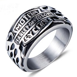 Wholesale Motorcycle Jewelry Rings - Europe and the United States men's domineering personality retro Punk Harley Motorcycle flame Titanium Ring Ring Jewelry