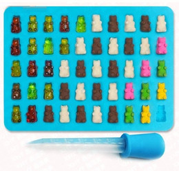 Wholesale gummy candies - 50 Cavity Silicone Gummy Bear Chocolate Mold Candy Maker Ice cube Tray Jelly Moulds with free dropper wn067