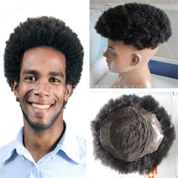 Wholesale Malaysian Afro Curl - Hot selling 6inch short malaysian virgin hair afro kinky curl lace pu toupees for black men free shipping