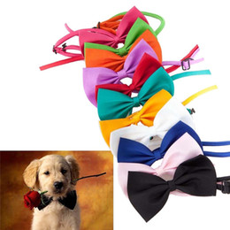 Wholesale White Dog Bow Tie - Candy colors Fashion Cute Dog Puppy Cat Kitten Pet Toy Kid Bow Tie Necktie Clothes decoration free shipping