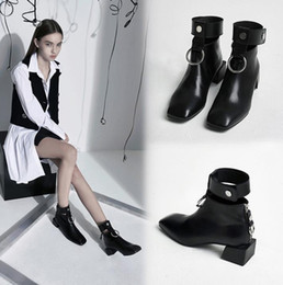 Wholesale Black Shoes For Ladies - hot 2017 ankle boots for women Cut-Outs Retro Martin boots Square Toe Metal rings zip shoes for ladies luxury design 34--40