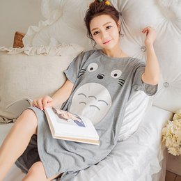 Wholesale White Cotton Nightgowns Wholesale - Wholesale- 2017 Summer 100% Cotton Women Printed Nightgown Female Casual Outwear Lady Pockets Sleepshirt Girl Pijama Home Clothing Size 3XL
